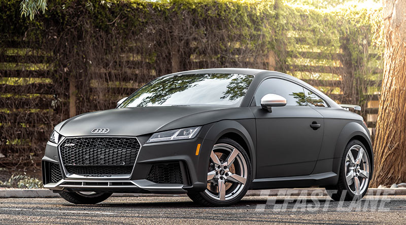 Audi wrapped in matte black vinyl