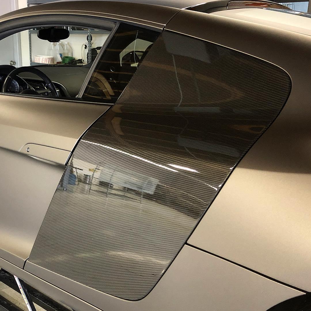 Audi partial wrap in black carbon