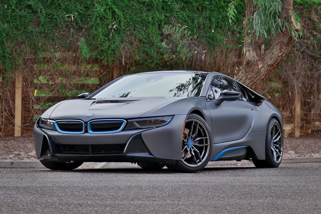 BMW i8 vinyl wrapped car in Oracal matte gray