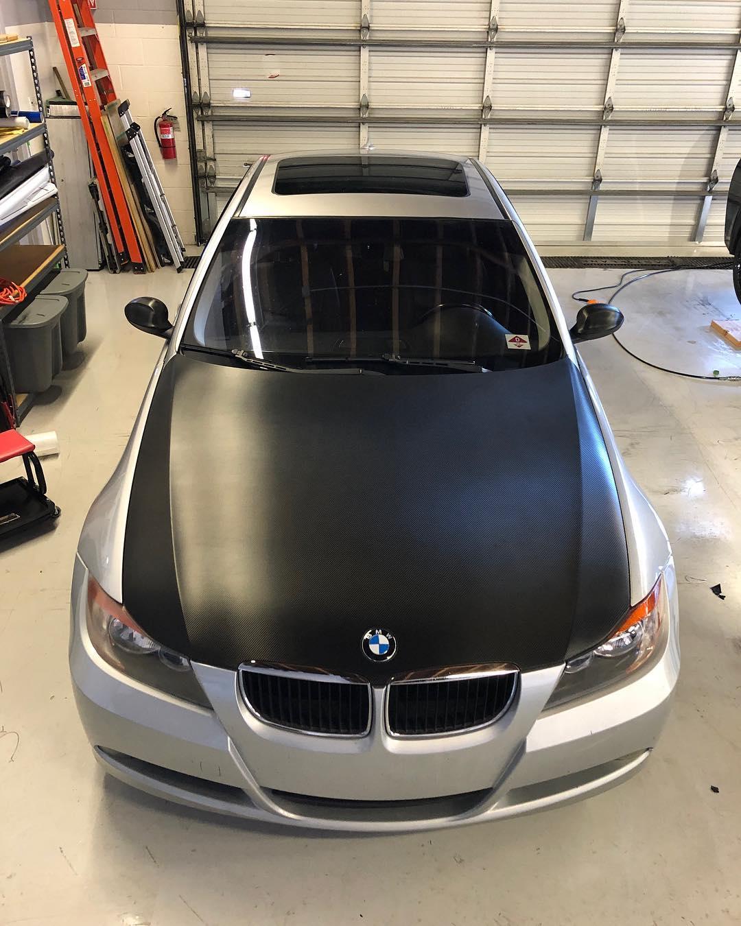 BMW hood wrap, textured vinyl