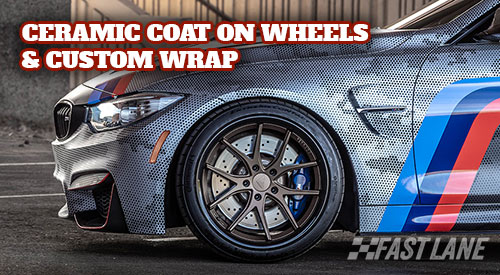 BMW M4 with ceramic coat all over vinyl wrap and wheels.