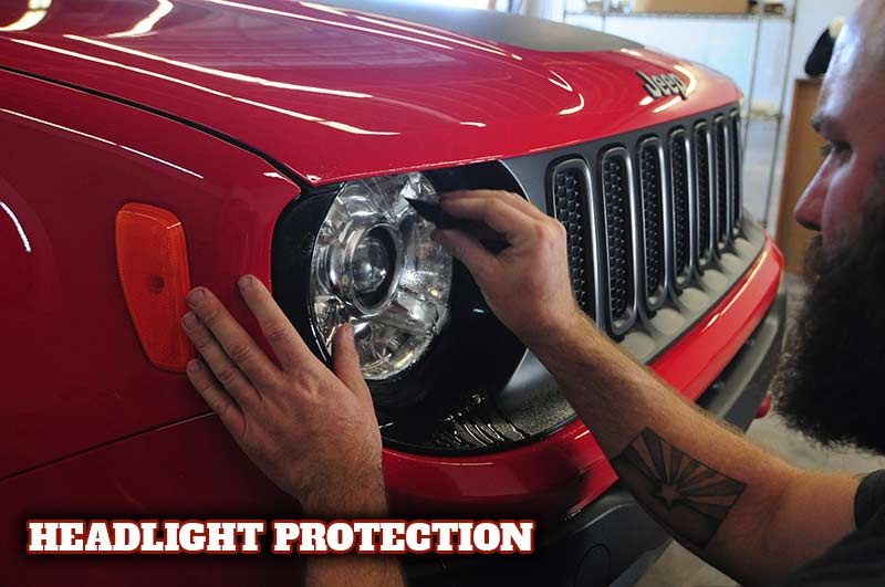 Headlight protection with clear bra film.
