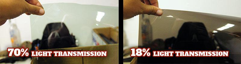 Clear window tinting film of 70% shown against 18% dark window tinting film