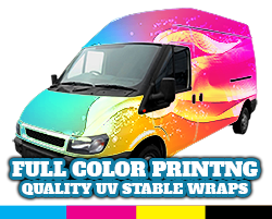 Rainbow colored vehicle wrap concept art.