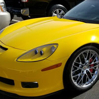 Yellow Chevrolet Corvette getting Scottsdale Paint Protection Film