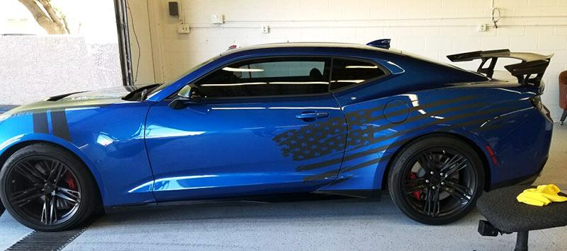 Blue Camaro ZL1 with Custom Vinyl Decals in Matte Black