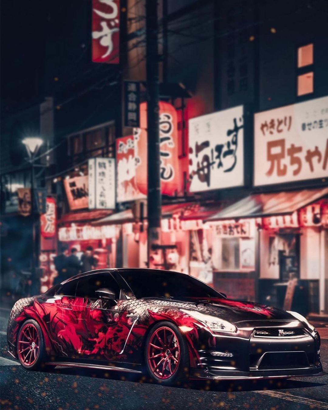 Side view of Godzilla, Nissan GTR wrap.