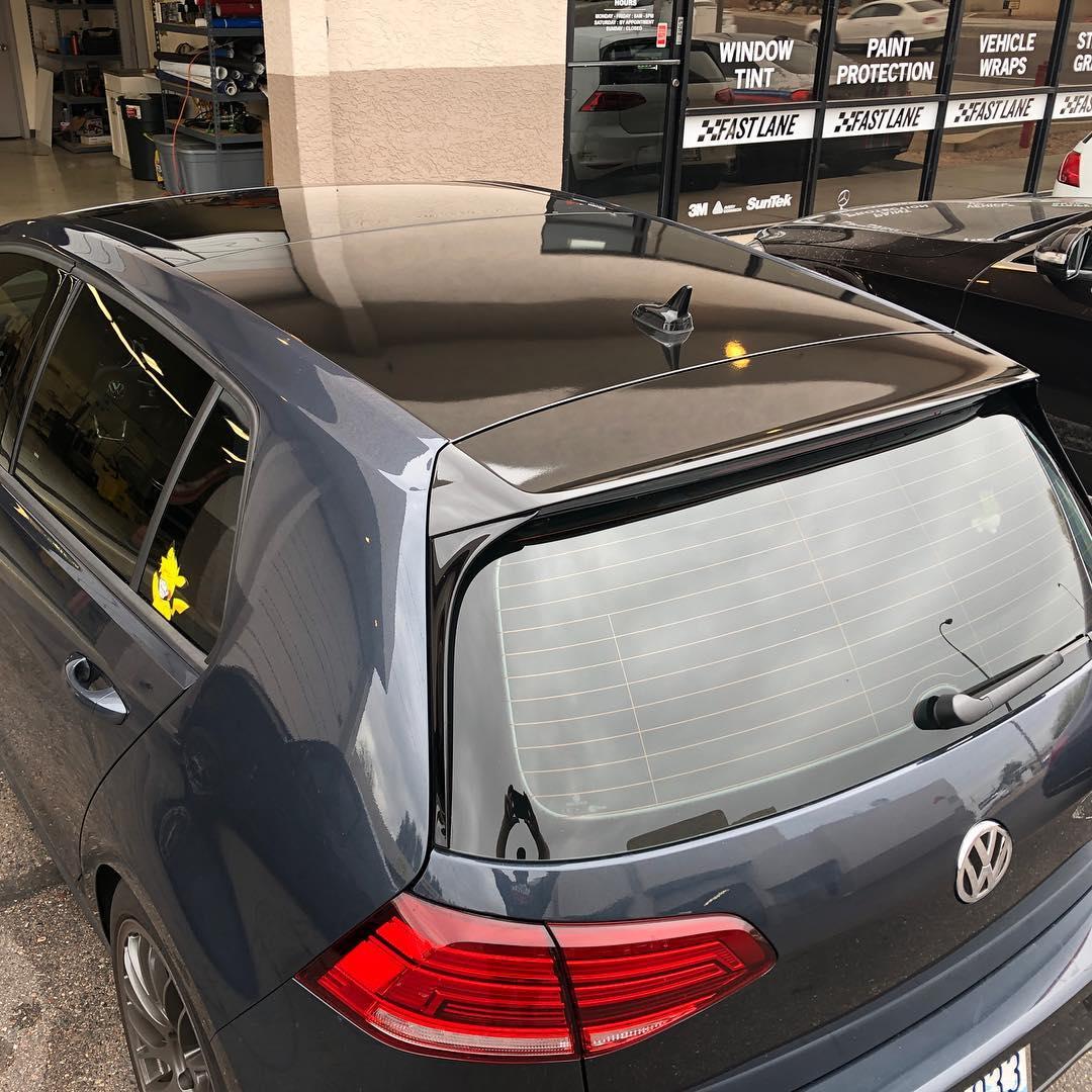 Dark blue VW GTI wrapped roof