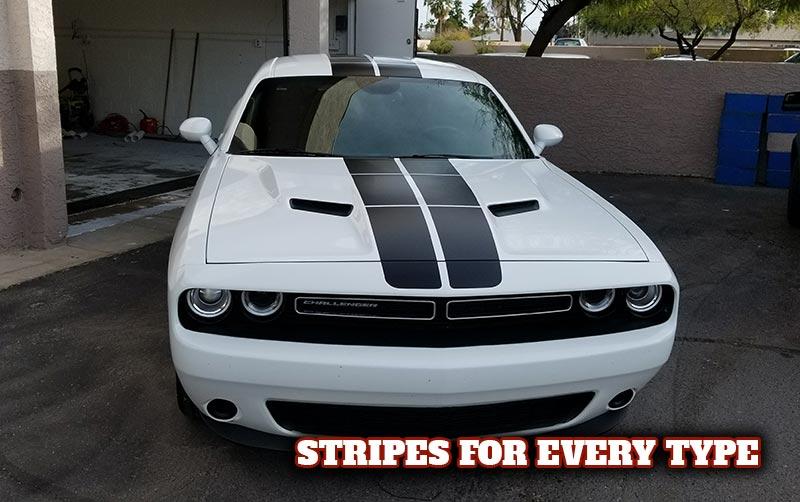 White Dodge Challenger with black vinyl stripes in Scottsdale AZ