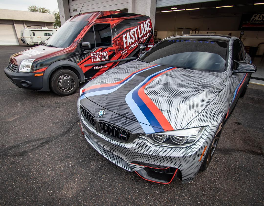 Wrapped Ford Transit and Wrapped BMW M4