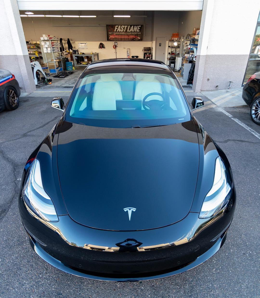 Black Tesla new window tint