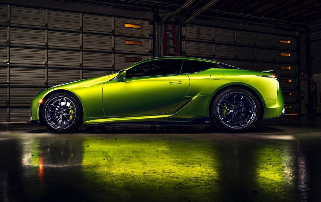 Matte green wrapped Lexus LC500 in our Scottsdale shop.