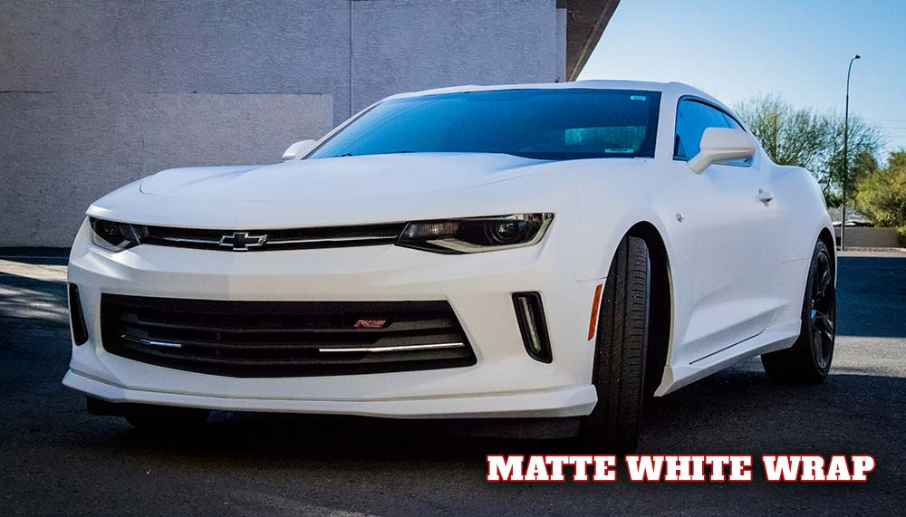 Camaro vehicle wrap in matte white.