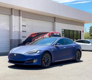 Vinyl wrapped Model S, matte blue.