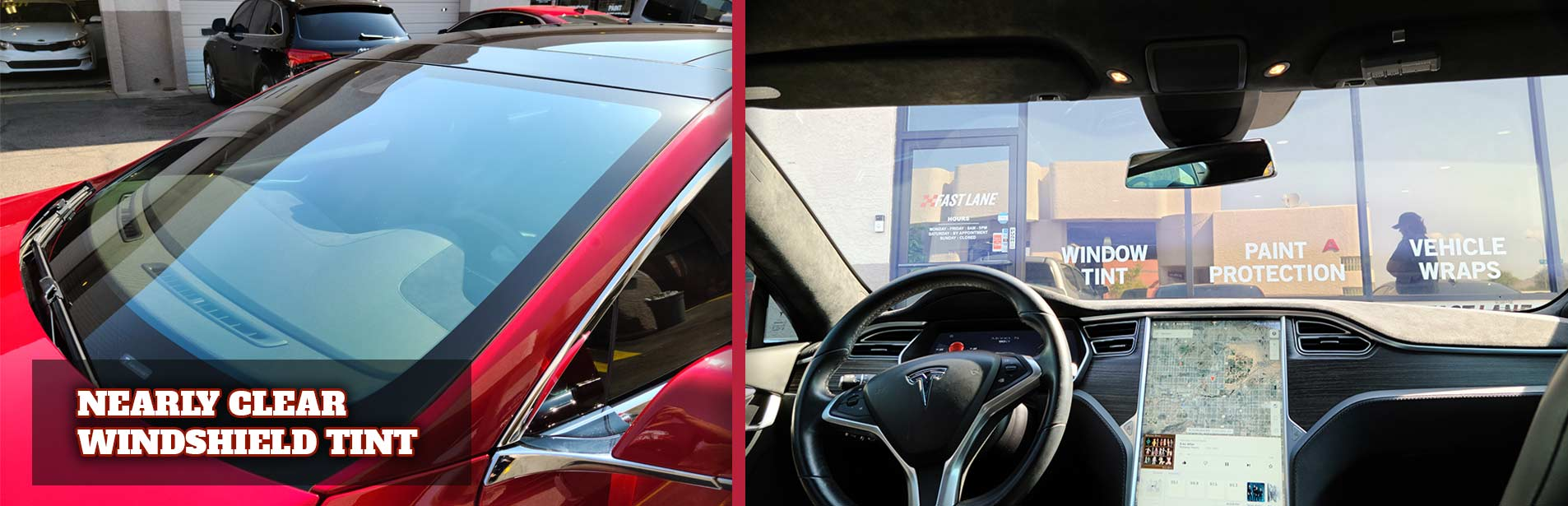 Demonstration of clear windshield tint on a Tesla