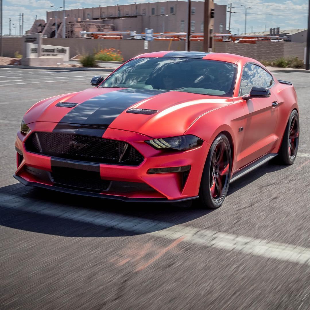 Red Mustang single black stripe