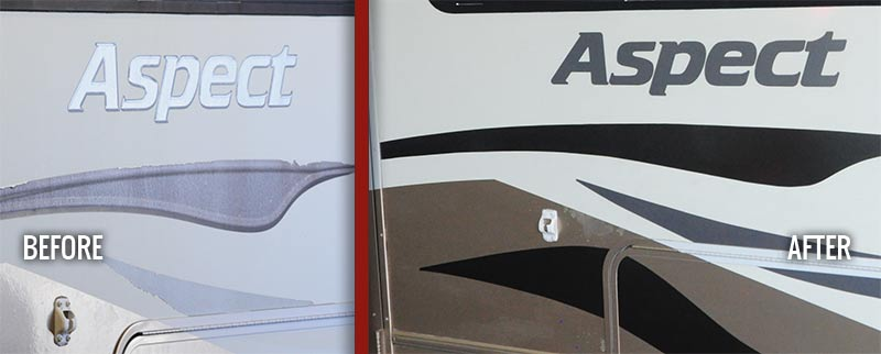 Assessing RV decal damage at our Phoenix Arizona shop.