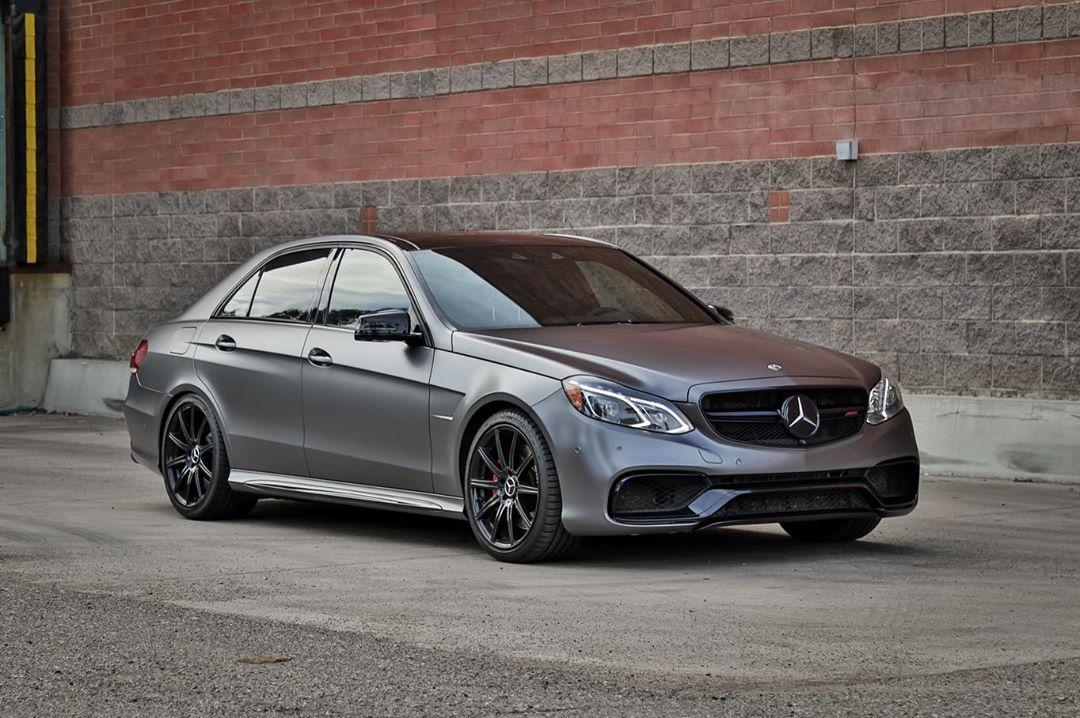 Matte wrap on Mercedes E63 in gunmetal grey.