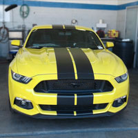 Yellow Ford Mustang with Dual Black Stripes in Scottsdale Arizona