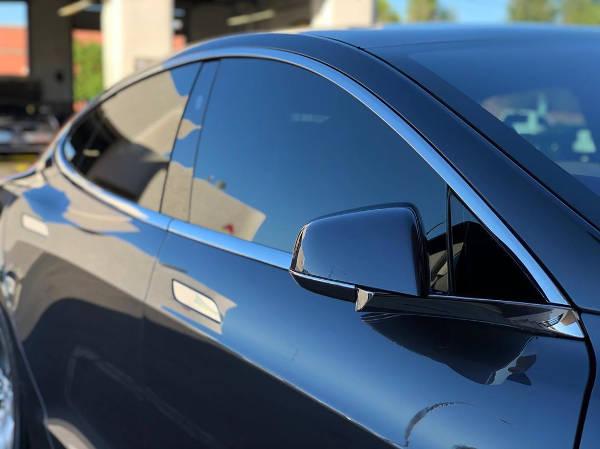 Black Tesla Model S with fresh ceramic window tint