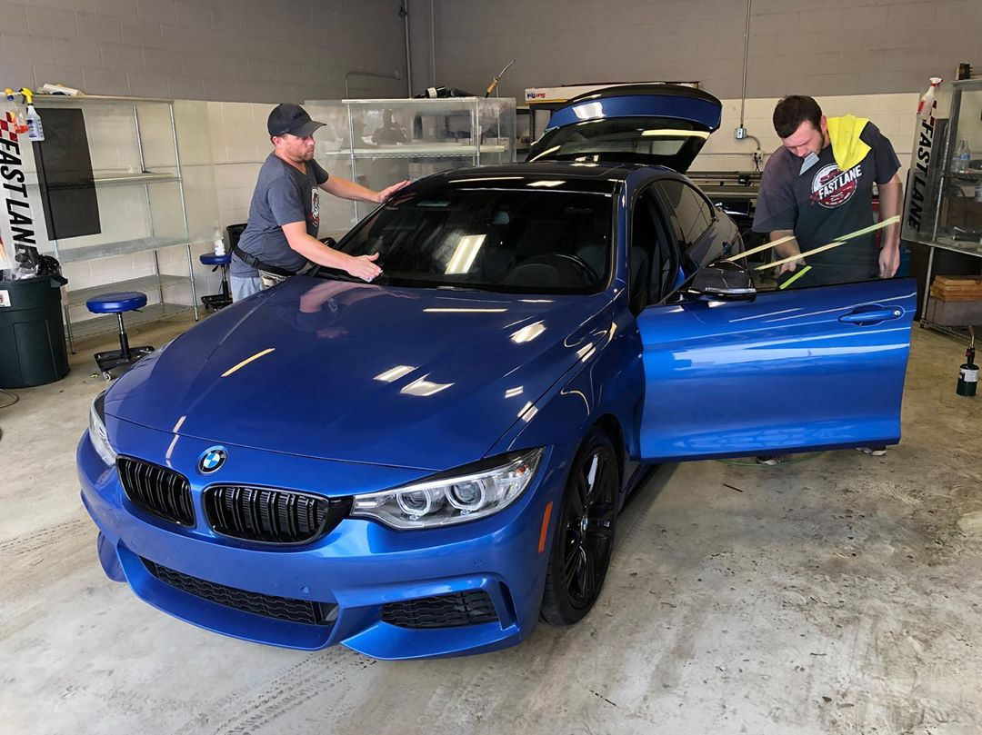 Blue BMW 435i getting tinted