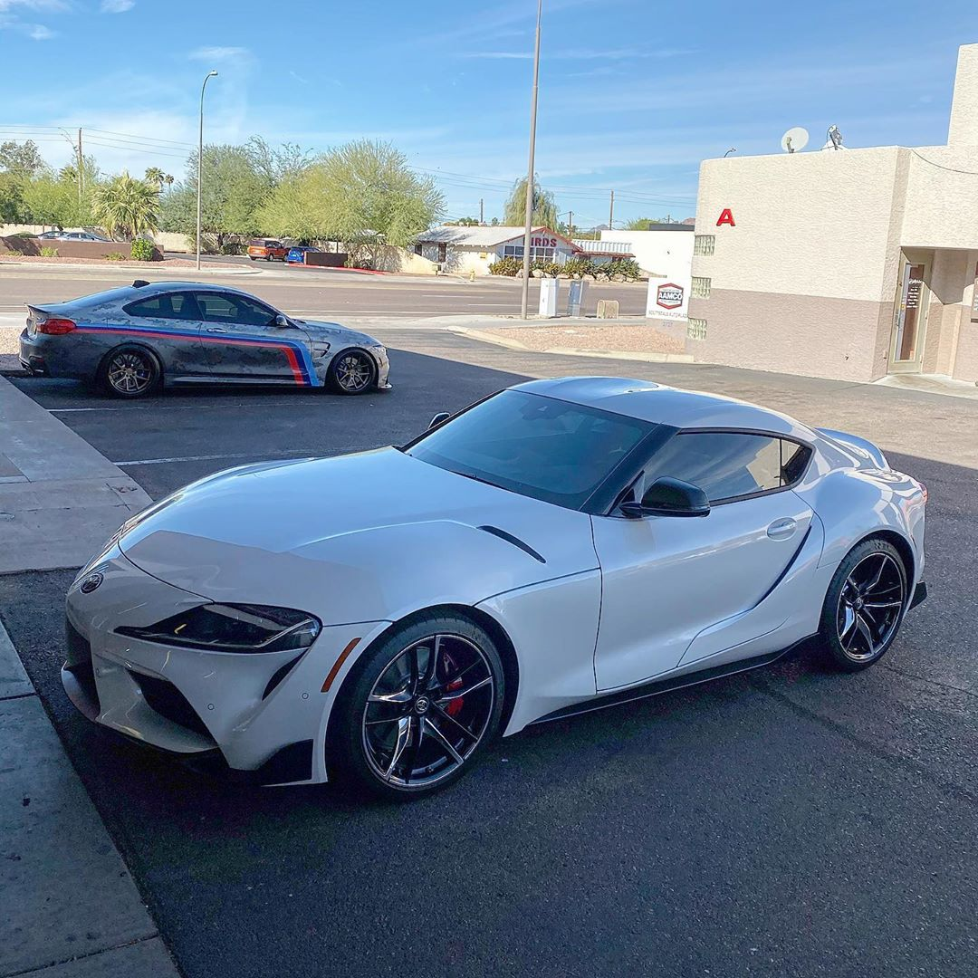 2020 Toyota Supra, white, with tint and clear bra ppf