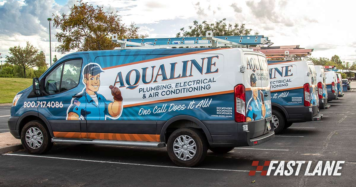 Design, print, and installation of van wrap for a repair service fleet of vans.