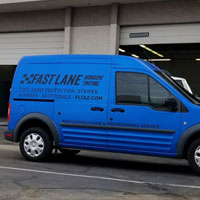 Our Satin Blue Van with Custom Decals and Lettering