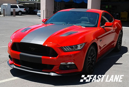 Red Ford Mustang with black vinyl stripe in Scottsdale