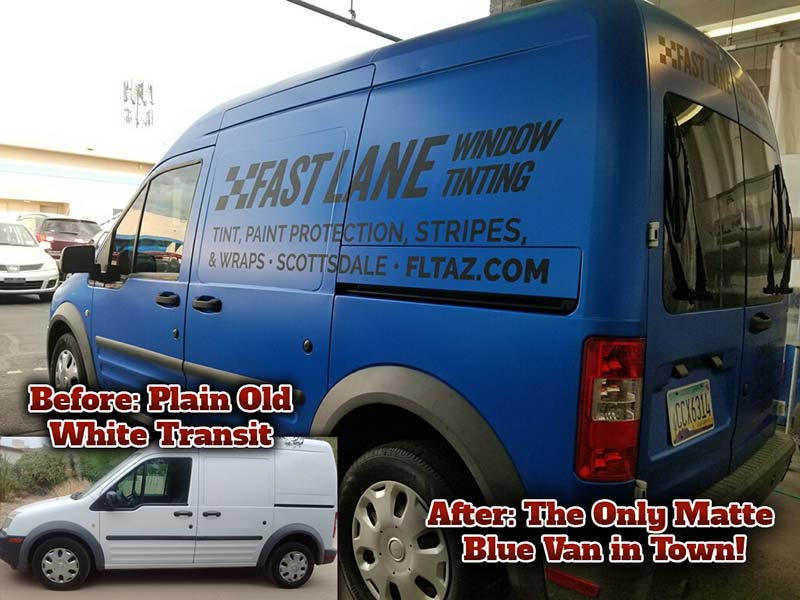 Boring white Ford Transit wrapped in matte blue for business with matte black lettering