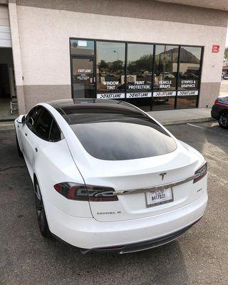 Window tint on Tesla Model S.