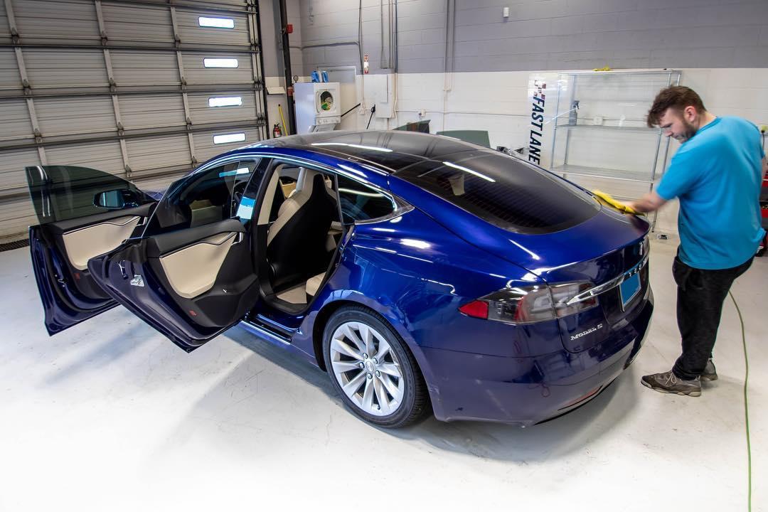 Blue Tesla dark tint